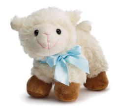 Plush Lamb with Blue Satin Bow