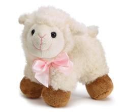 Plush Lamb with Pink Satin Bow